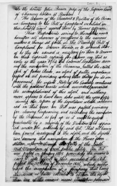 Rivanna Canal Company, August 17, 1817, Bill of Complaint