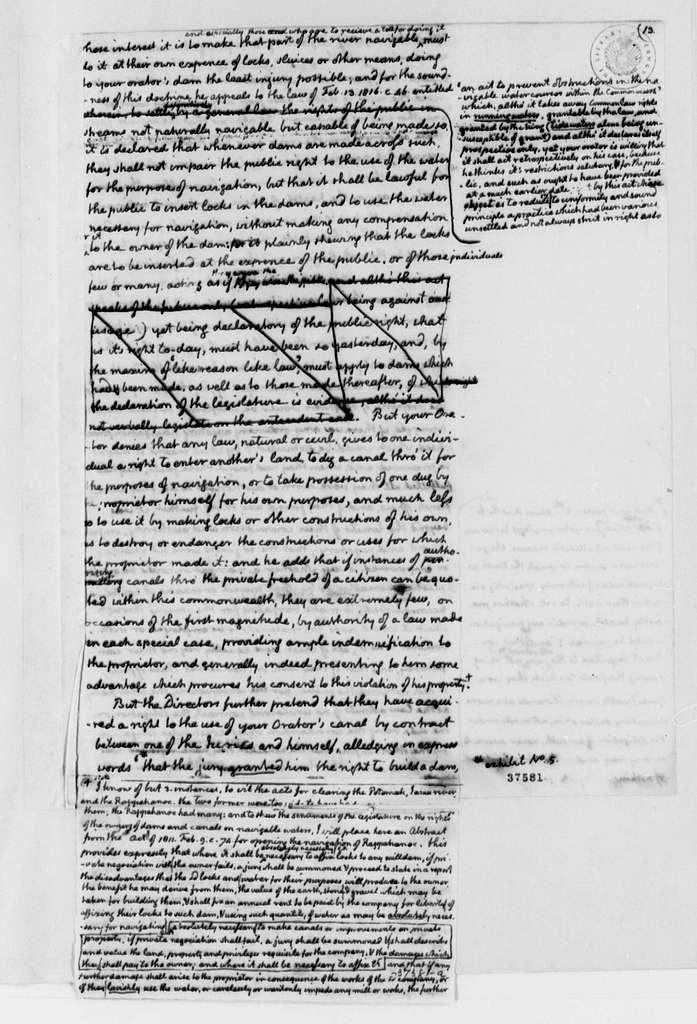 Rivanna Canal Company versus Thomas Jefferson, August 17, 1817, Legal Documents