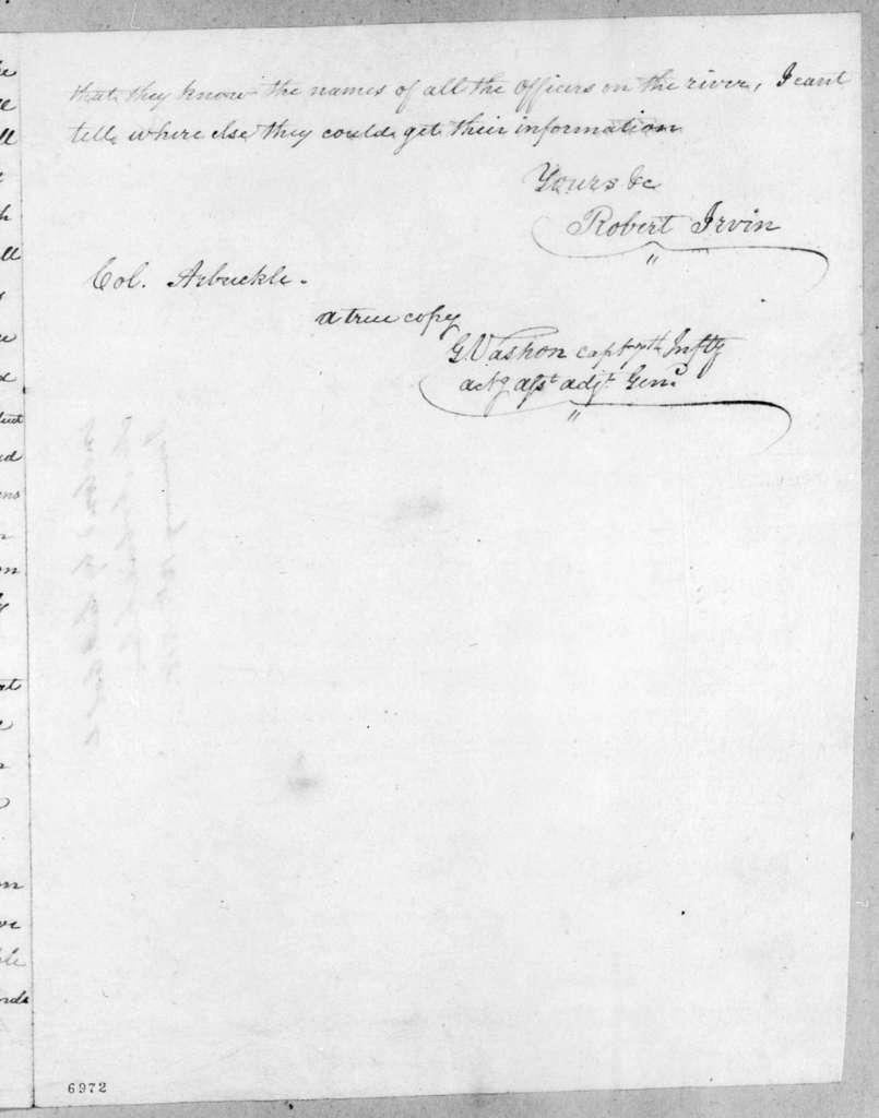 Robert Irvin to Mathew Arbuckle, December 23, 1817