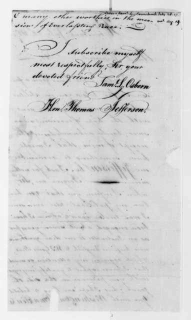 Samuel L. Osborn to Thomas Jefferson, July 28, 1817