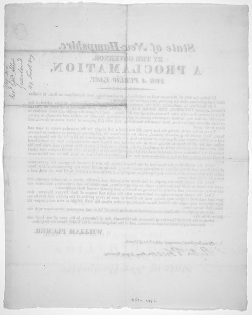 State of New-Hampshire. By the Governor. A proclamation, for a public fast ... appoint Thursday, the third day of April next, to be observed as a day of public humiliation, fasting and prayer, throughout this state ... Given at the Council Chamb