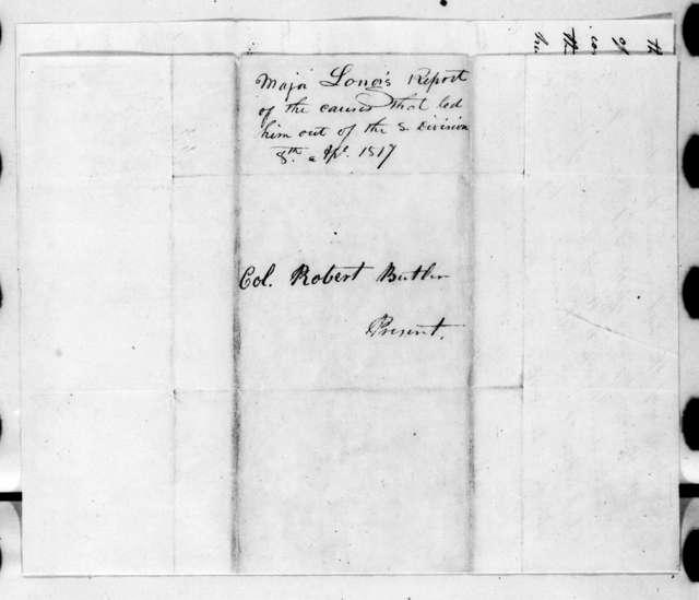 Stephen Harriman Long to Robert Butler, April 8, 1817