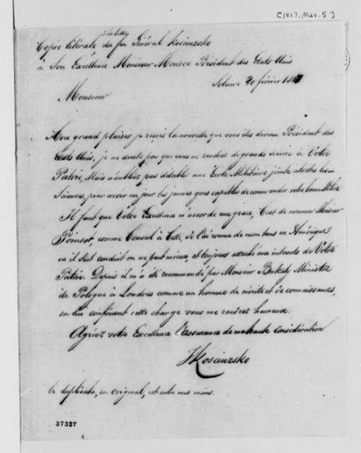 Thaddeus Kosciuszko to James Monroe, March 5, 1817