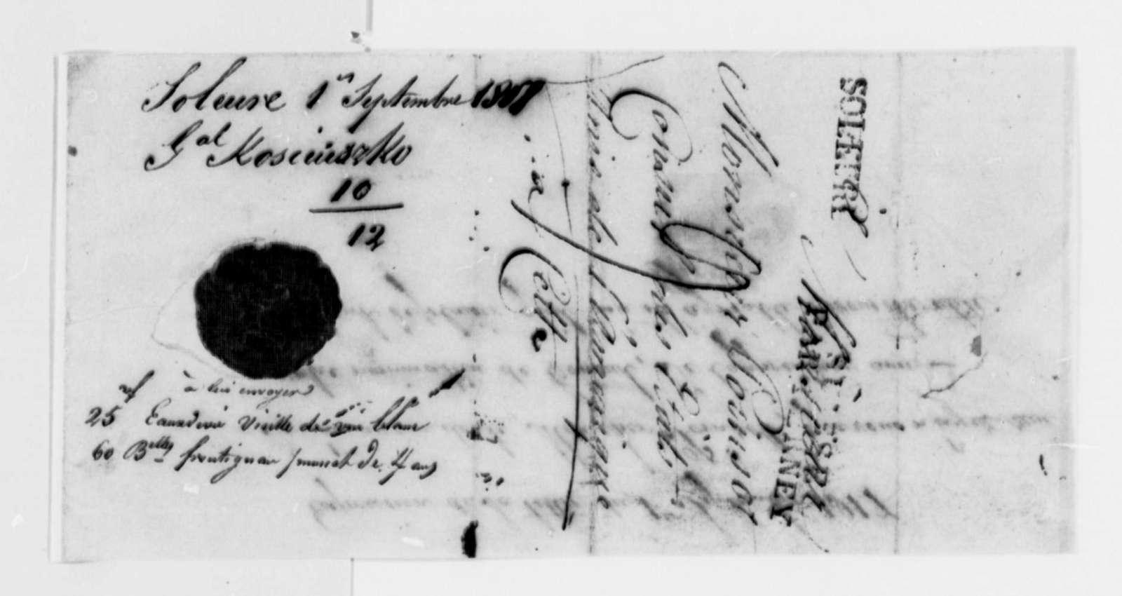 Thaddeus Kosciuszko to Pierre P. des Essarts, September 1, 1817