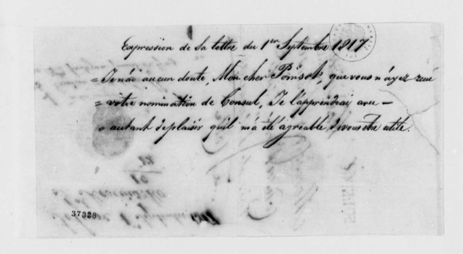 Thaddeus Kosciuszko to Pierre P. des Essarts, September 1, 1817