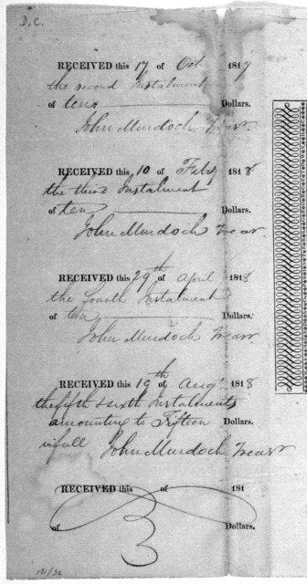 This is to certify, that of entitled to one share in the Capital Stock of the Falls Bridge turnpike company ... Given under my hand this day of one thousand eight hundred and President. Treasurer. [Washington D. C. 1817].