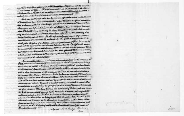 Thomas Dawes to James Monroe, February 1, 1817. With Memorial from the Massachussetts Peace Society.