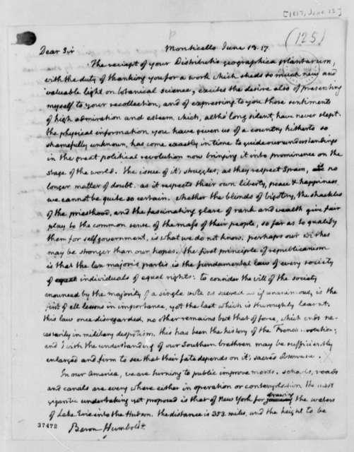 Thomas Jefferson to Baron von Humboldt, June 13, 1817
