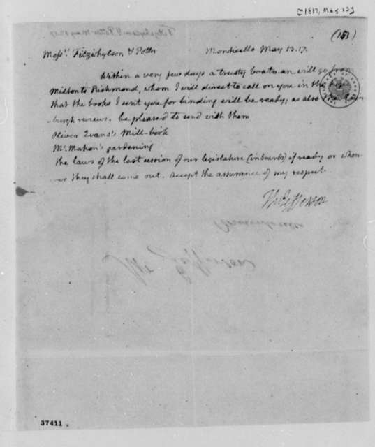 Thomas Jefferson to Fitzwhylson & Potter, May 13, 1817