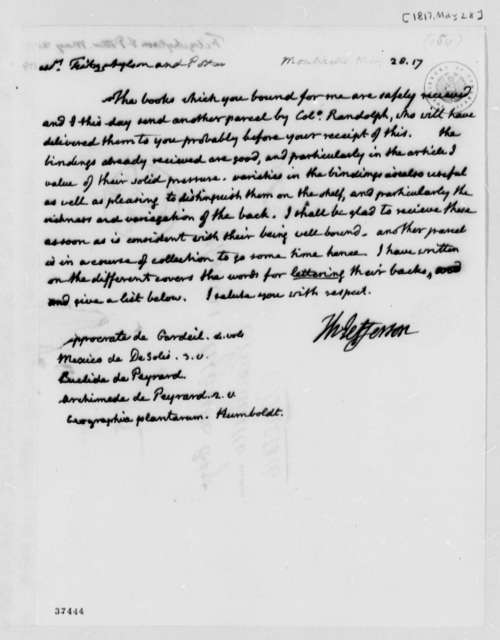 Thomas Jefferson to Fitzwhylson & Potter, May 28, 1817