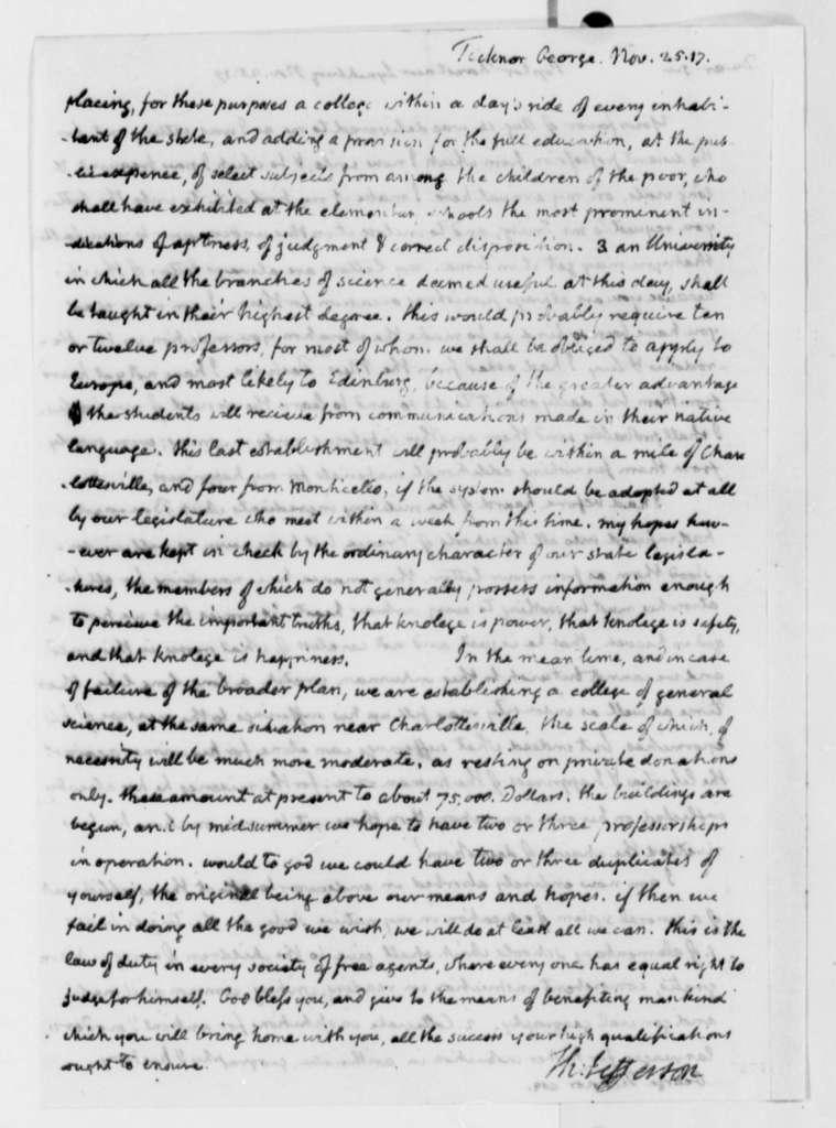 Thomas Jefferson to George Ticknor, November 25, 1817