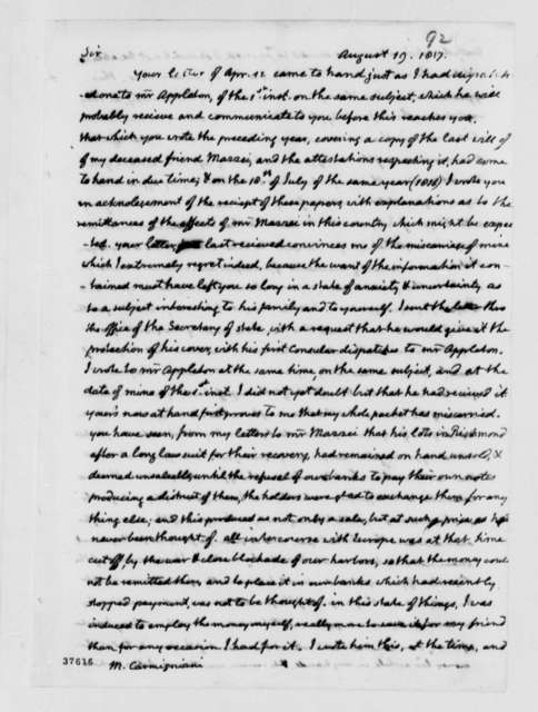 Thomas Jefferson to Giovanni Carmignani, August 19, 1817