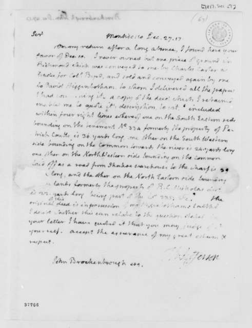 Thomas Jefferson to John Brockenbrough, December 27, 1817