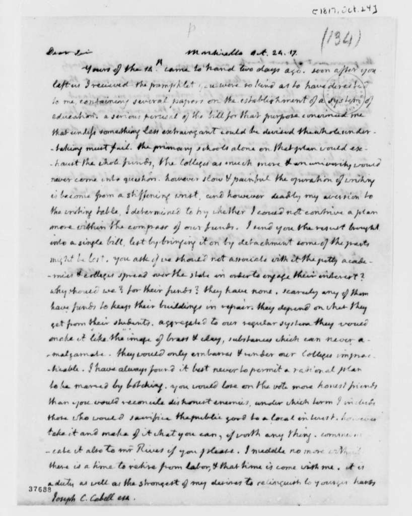 Thomas Jefferson to Joseph C. Cabell, October 24, 1817