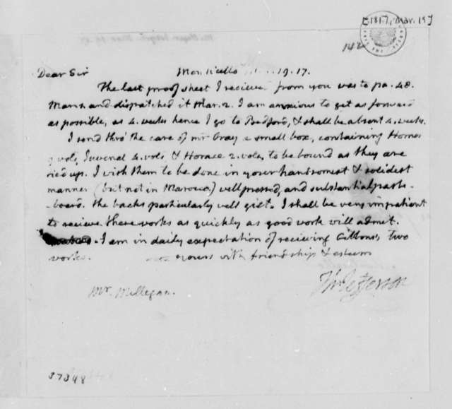 Thomas Jefferson to Joseph Milligan, March 19, 1817