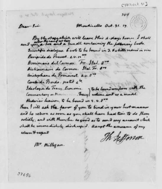 Thomas Jefferson to Joseph Milligan, October 31, 1817