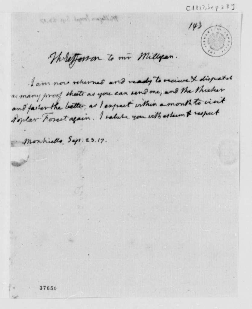 Thomas Jefferson to Joseph Milligan, September 23, 1817