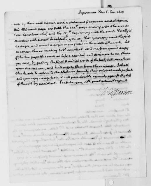 Thomas Jefferson to Peter S. du Ponceau, January 26, 1817