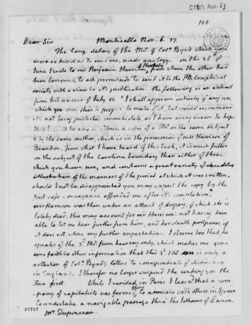 Thomas Jefferson to Peter S. du Ponceau, November 6, 1817
