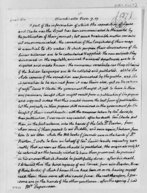 Thomas Jefferson to Peter S. du Ponceau, November 7, 1817