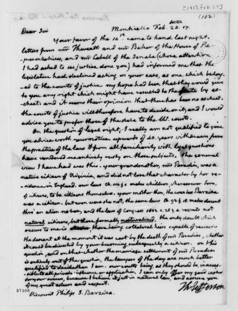 Thomas Jefferson to Philip Ignatius Barziza, February 24, 1817