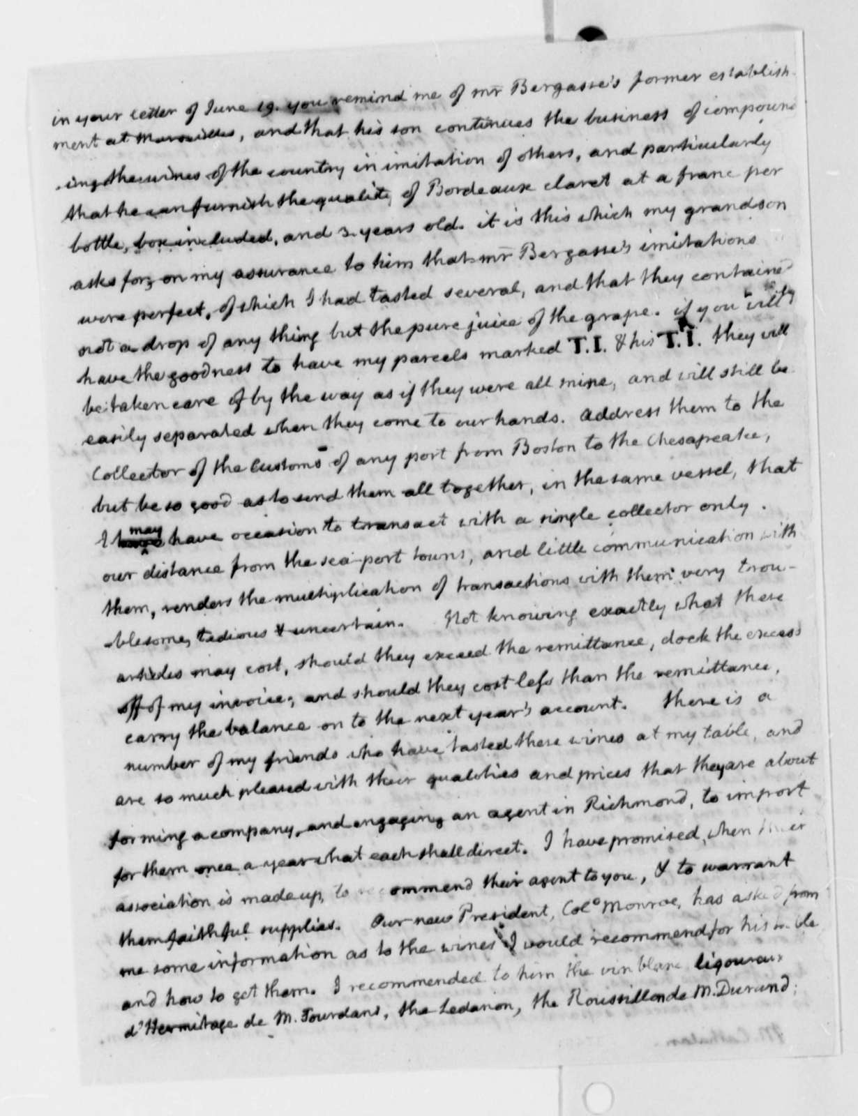 Thomas Jefferson to Stephen Cathalan, Jr., June 6, 1817, with Wine and Food List