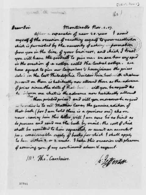 Thomas Jefferson to Thomas Carstairs, November 1, 1817