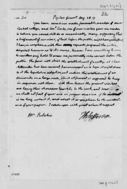 Thomas Jefferson to Thomas Ritchie, August 28, 1817