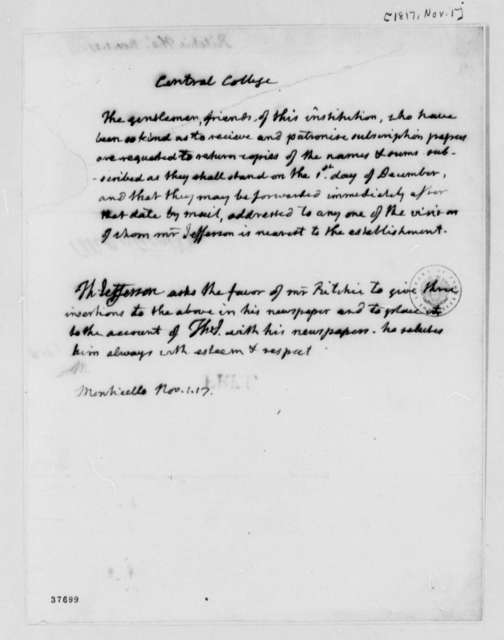 Thomas Jefferson to Thomas Ritchie, November 1, 1817, with Notice