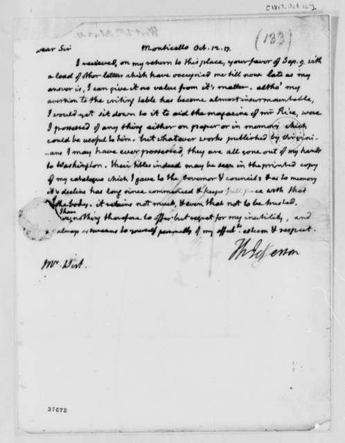 Thomas Jefferson to William Wirt, October 12, 1817