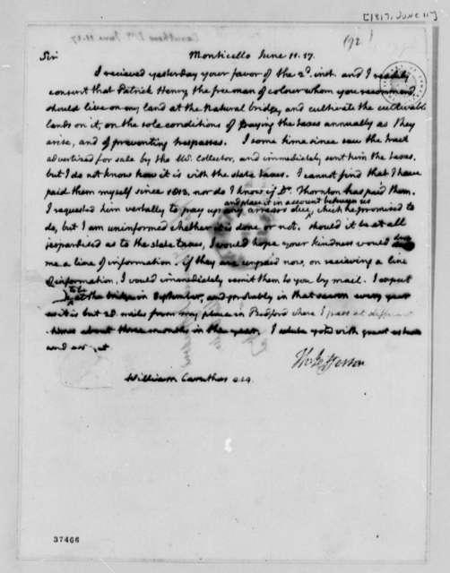 Thomas Jefferson to Williams Caruthers, June 11, 1817