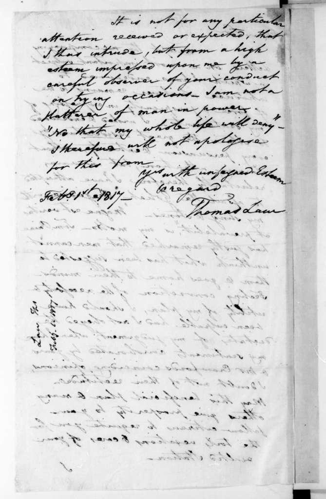 Thomas Law to James Madison, February 1, 1817.