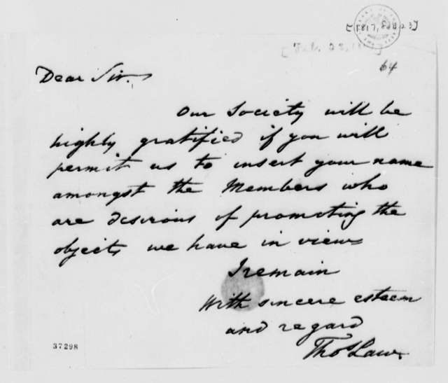 Thomas Law to Thomas Jefferson, February 23, 1817