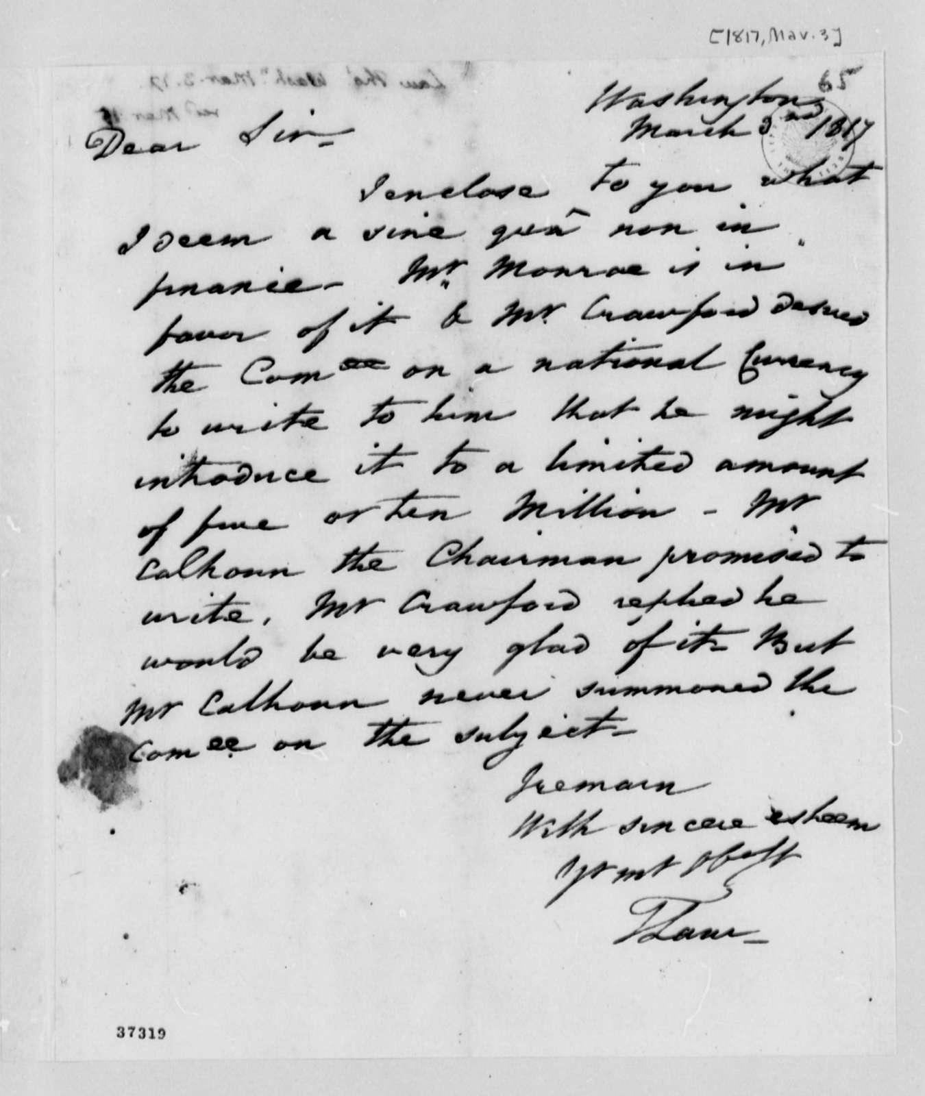 Thomas Law to Thomas Jefferson, March 3, 1817