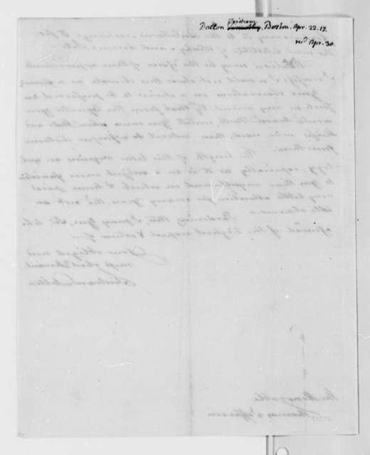 Tristram Dalton to Thomas Jefferson, April 22, 1817