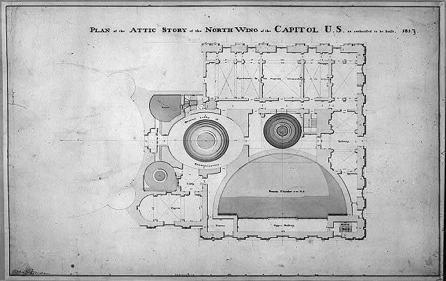 [United States Capitol, Washington, D.C. Attic floor plan, north wing]