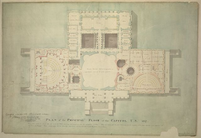 [United States Capitol, Washington, D.C. Principle floor plan, vestibule, House of Representatives, Senate Chamber, Library] / Respectfully submitted to the President of the U. States by B. Henry Latrobe, survr. of the Capitol, U.S., April 24th, 1817.