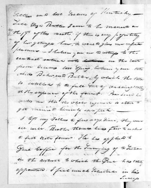 William Orlando Butler to Andrew Jackson, April 1, 1817