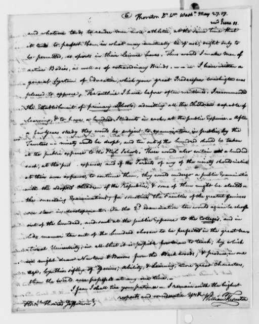 William Thornton to Thomas Jefferson, May 27, 1817