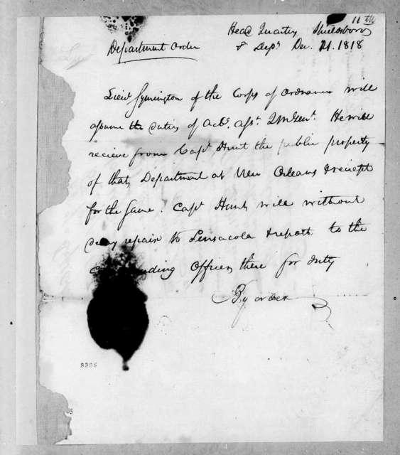 8th Military District Army Headquarters to John Symington, December 21, 1818