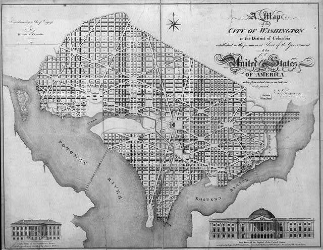 "A map of the city of Washington in the District of Columbia established as the permanent seat of the government of the United States of America. City map with depiction of ""East front of the Capitol of the United States"" / by Rt. King, surveyor of the City of Washington."