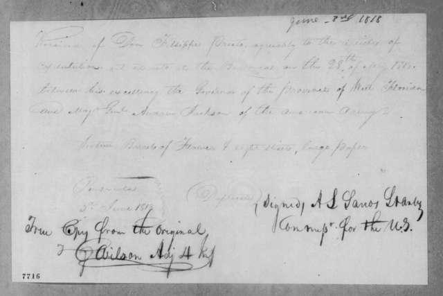 A. S. L. Grantz to F. Prieto, June 3, 1818