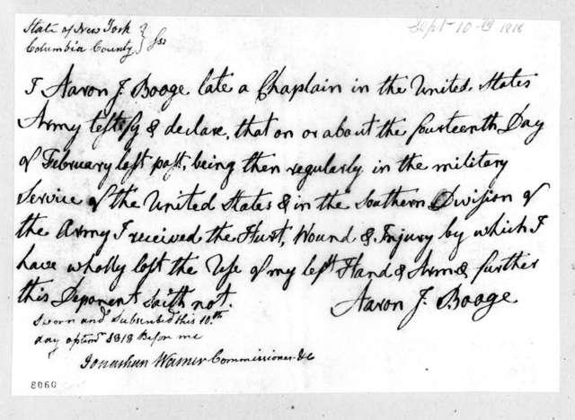 Aaron Jordan Booge, September 10, 1818
