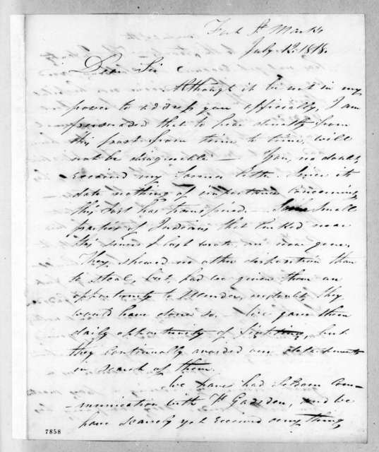 Alexander Campbell Wilder Fanning to Andrew Jackson, July 12, 1818