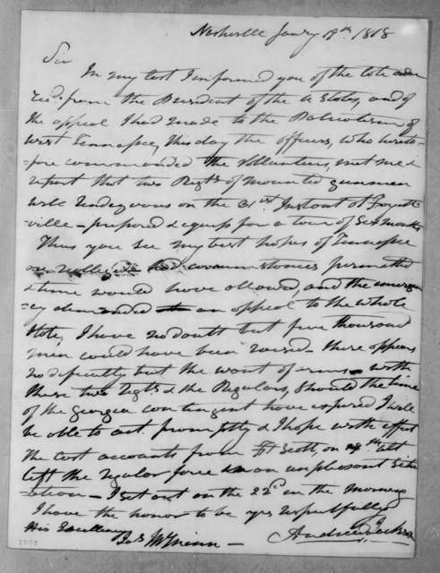 Andrew Jackson to Joseph McMinn, January 19, 1818