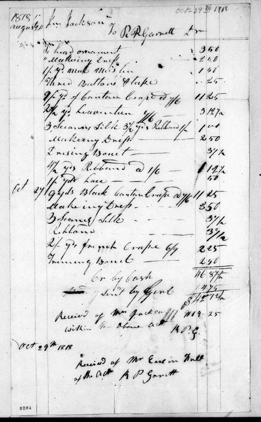 Andrew Jackson to R. P. Garrett, October 29, 1818