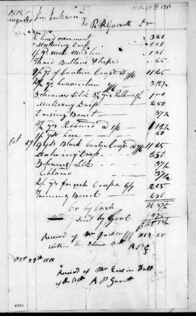 Andrew Jackson to R. P. Garrett, October 29, 1818