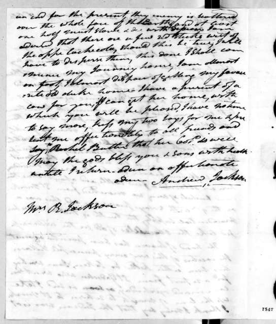 Andrew Jackson to Rachel Donelson Jackson, April 20, 1818