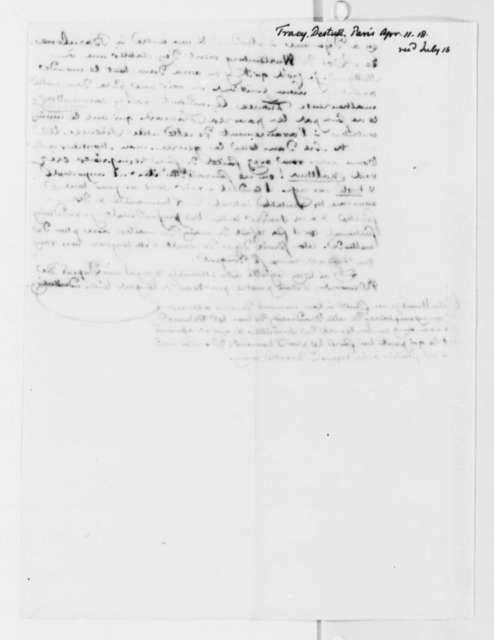 Antoine Louis Claude Destutt de Tracy to Thomas Jefferson, April 11, 1818, in French