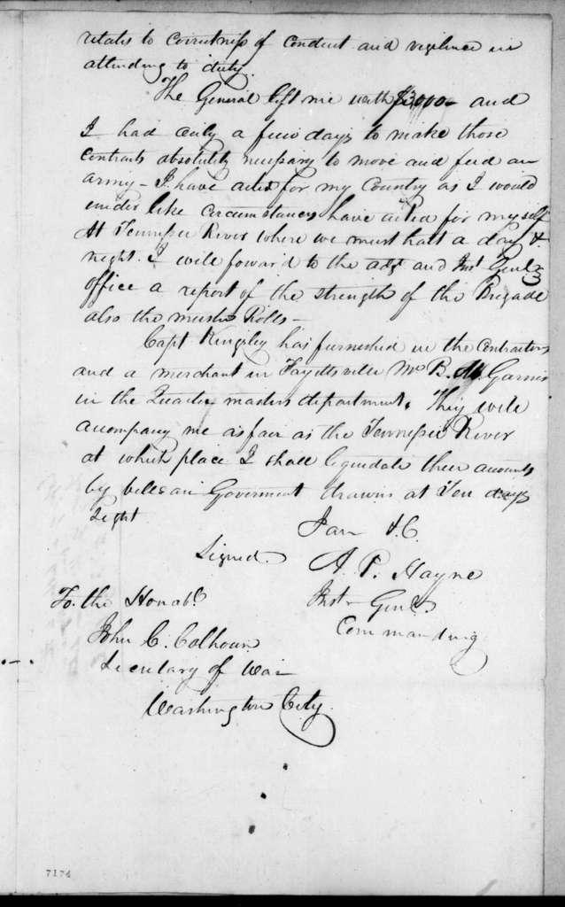 Arthur Peronneau Hayne to John Caldwell Calhoun, February 9, 1818